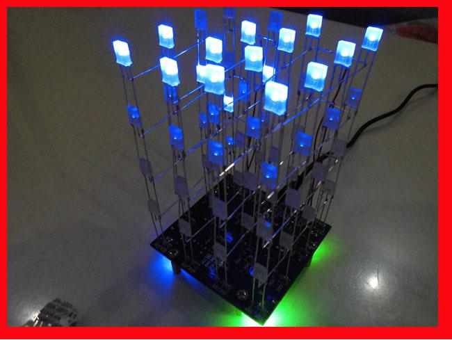 3D Light squared DIY Kit 4x4x4 2*5*7MM LED Cube Blue Ray LED light effects