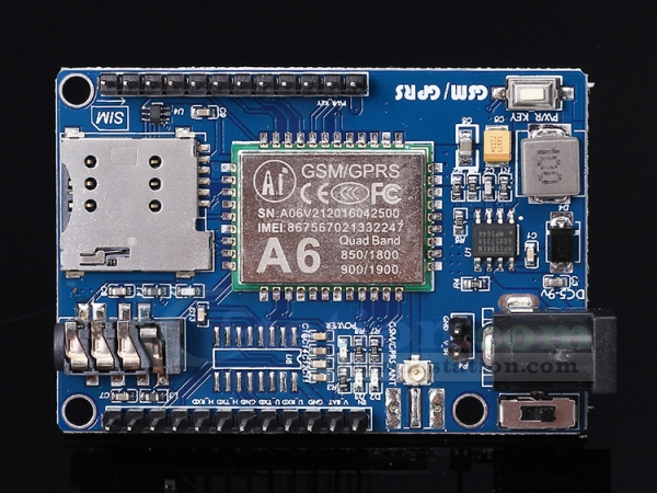 A6 GSM GPRS Module IPEX Interface Module Shield DC 5-9V Input for