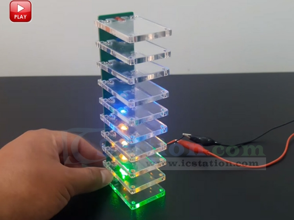 Voice Control Electronic Crystal Column DIY Kit Colorful LED