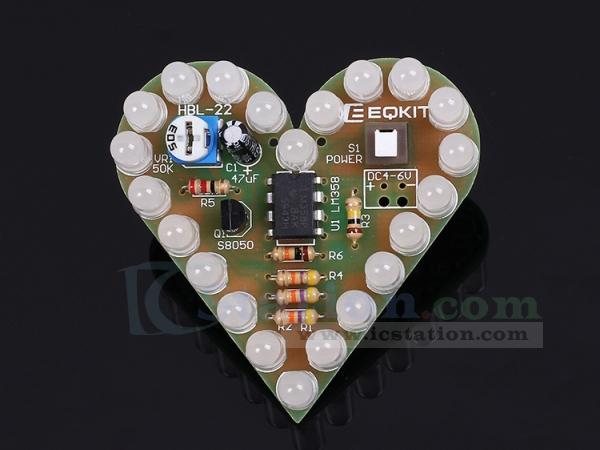 DIY Kits Circuit Board Electronic Breathing Lamp LED Light Heart Shape DC 4V-6V