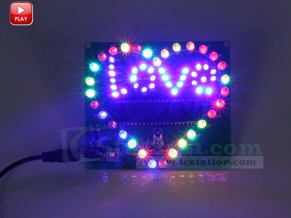 Colorful Flashing Led Lamp Love Letter Display Heart Shaped
