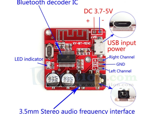 Wireless Bluetooth 4.0 Audio Receiver Module USB Decoding Amplifier LED Display