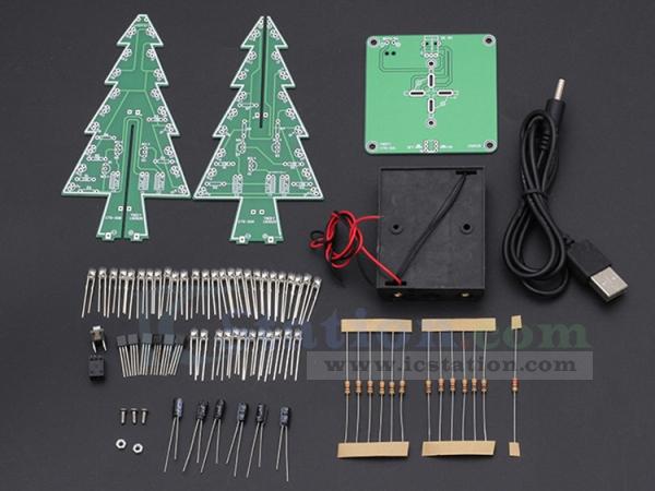 Diy 3d Xmas Tree Kit Rgb Flashing Led Circuit Kit Colorful Christmas Tree Kit For Solder Practice Holiday Toy Gift