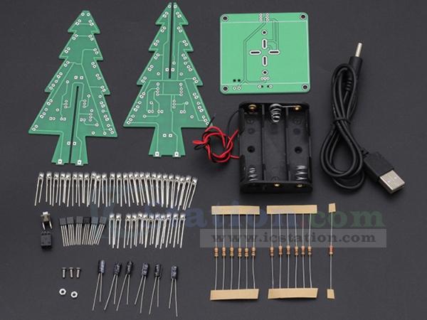 ... DIY 7 Colors 3D Xmas Tree Kit RGB Flashing LED Circuit Kit Colorful Christmas Tree Kit ...