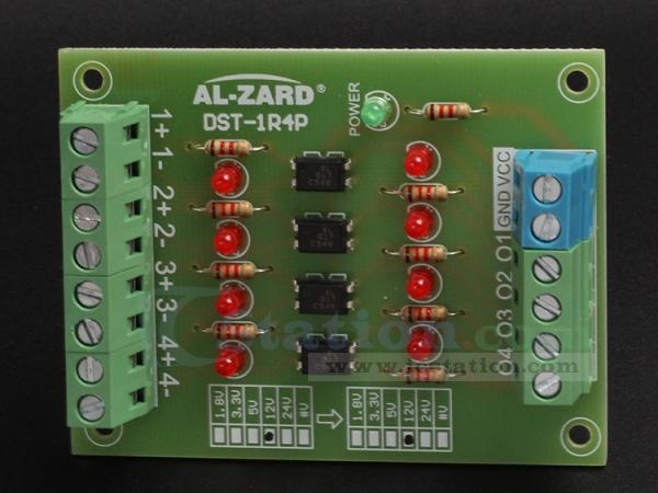 4bit optocoupler isolator 24v to 3 3v level voltage converter board