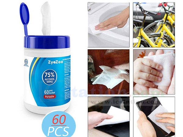 Portable Alcohol Wipes 75 Antiseptic Cleaning Wipes Sterilization Wipes Wet Wipes 60 Pcs Cleaning Wipes for Family Cars