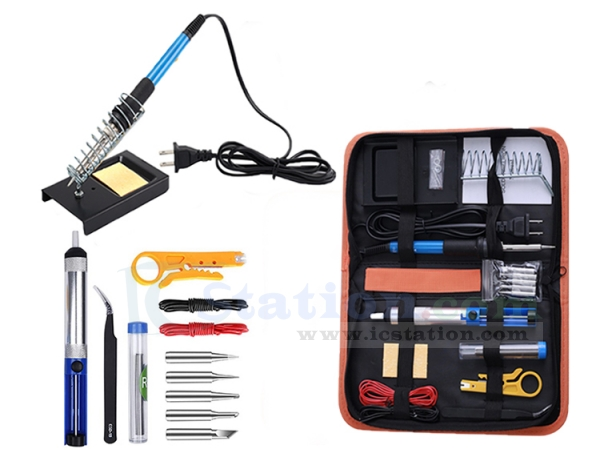 Carry Bag 14 in 1 Soldering Iron Sets 110V AC 60W Electronic Adjustable Temperature 400-850℉ Soldering Iron Kit with Soldering Iron Stand Tweezers Desoldering Pump 60W-1 5 Iron Tips