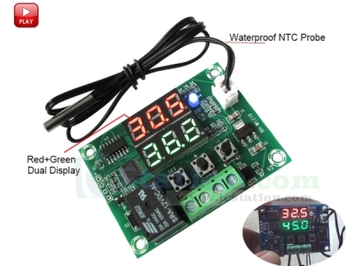 XH-W1219 Digital Thermostat Module Temperature Controller Module Switch with Waterproof NTC Probe Dual LED Display Red+Green