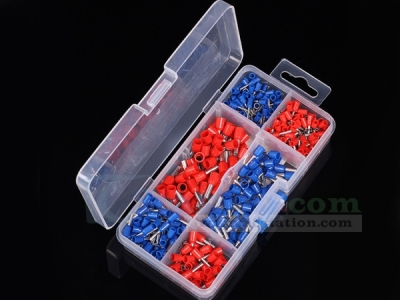 450Pcs Wire Copper Crimp Connector Insulated Cord Pin End Terminal Red Blue AWG 12-22