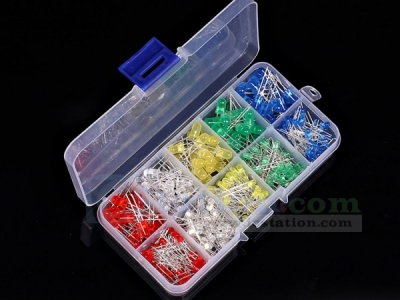 375pcs 3mm 5mm LED Kit Mixed Color Red Yellow Blue Green White Light Emitting Diodes