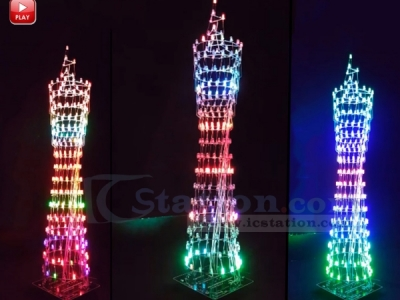 Colorful LED Tower Display Rhythm Lamp Light with Infrared Remote Control Electronic DIY Kits Brain-training Toy