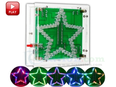 Colorful Glittering Five-Pointed Star Shaped Pentagram Design Water Light Flashing LED Lamp DIY Kit with Acrylic Shell