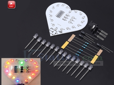 DC 5V Colorful Flashing LED Light DIY Kit Love Heart Shaped LED Lamp Electronic Soldering Practice Kit