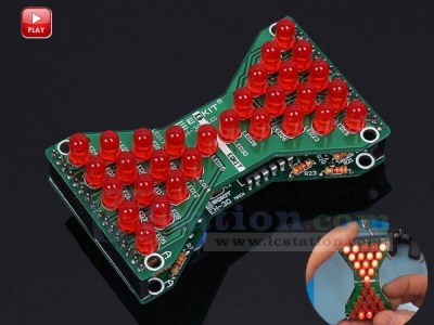 DIY Kit Red LED Electronic Hourglass Shaped Flashing Light DC 3.3V-5V Funny Electronic Production Kits DIY Module