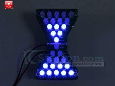 DIY Kit Blue LED Electronic Hourglass Shaped DIY Flashing Light Funny Electronic Production DIY Module DC 3.3V-5V