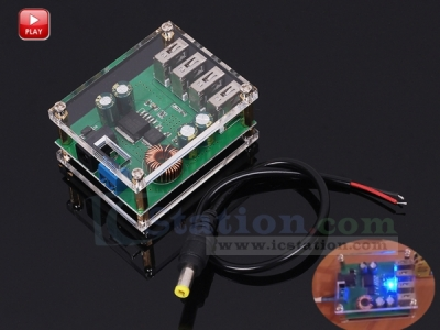 4 USB Output DC to DC Step Down Module Automatic Buck Converter Power Supply Charger Module 5V 5A for Mobile Phone