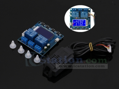 SHT20 Humidity Temperature Controller DC 12V 0-100%RH -20-60Celsius Digital LCD Display 2-Channel Relay Module