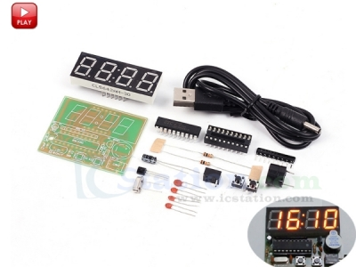 DIY 4 Bits C51 Digital Electronic Clock Red LED STC11F02E Chip DIY Kits Soldering Practice Learning Suite DIY Module