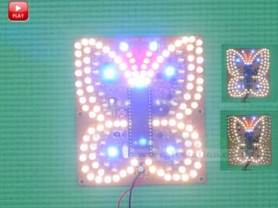 Warm White Blue Flashing LED Music Butterfly Shaped Light DIY Kit LED Lighting Lamp Kit with Remote Controller