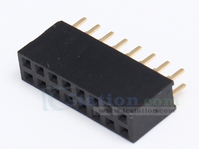 Black 2x8Pin 2x8P Female Pin 2.54mm Socket Connector