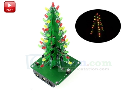 DIY Kit 3D Christmas Tree Kit with 3 Colors Red/Green/Yellow Flashing LED for Electronics Soldering Practice Fun Gift DC 5V