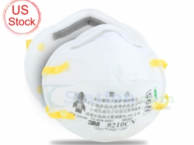 (US Warehouse) 2PCS/Pack 3M 8210CN N95 Face Mask Anti Flu Virus Dust PM2.5 Protective Mask Head-Mounted