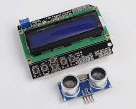 LCD1602 Keypad Shield Blue + Ultrasonic Module HC-SR04