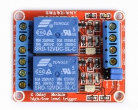 12V 2-Channel Relay Module with Optocoupler H/L Level Triger for