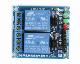 5V 2-Channel Relay Module with Optocoupler High Level Triger for Arduino