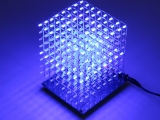 3D Light Squared Blue Flashing LED Light Cube DIY Kit 8x8x8 LED Cube Light Lamp Blue Ray for Home Decoration