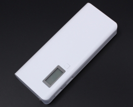White 5V 2A 1A Dual-USB 18650 Battery Mobile Power Bank Charger