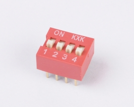 Red 2mm Pitch 8 Pins 4 Position Slide Type DIP Switch