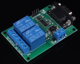 2-Channel Serial Port RS232 Relay Module DB9 Interface Low Level Output DC 12V