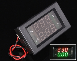 "AC Ammeter Voltmeter 0.39"" LED Display AC 130-500V 50A 70x40x30mm Black Shell"