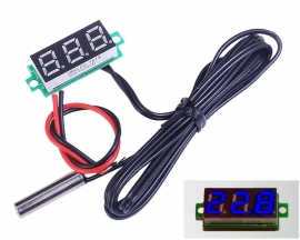 0.28Inch Blue Digital Thermometer w/ NTC Metal Waterproof Probe Temperature Sensor