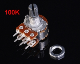 100K Stereo Double Potentiometer 15mm Splined Shaft