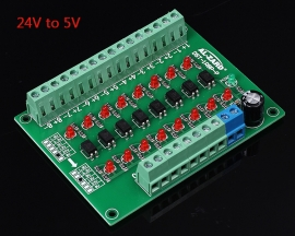 24V to 5V 8-Channel 8bit Photoelectric Isolation Module Level Voltage Converter PNP Output PLC Signal Module