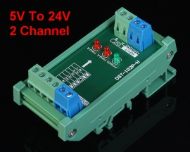5V To 24V 2-Channel Voltage Level Converter Board High Speed Pulse Signal 10A 2MHz
