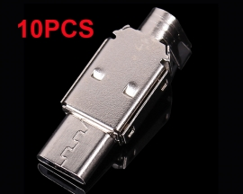 10pcs Micro USB Male Plug 5Pin Flat Mouth Metal Shell Adapter Converter For DIY