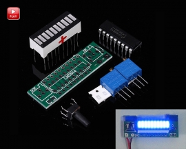 LM3914 Blue LED Bar Display Module 10 Segments Battery Power Indicator Battery Capacity Indicating Tester DIY Kits