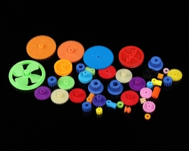 55Pcs Colorful Plastic Gears Belt Pulley Shaft Sleeve Main Shaft Gears DIY Kits for Robot Model