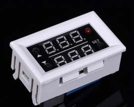 High Precision Red Blue Double Digital Display Temperature Controller Thermometer DC 12V with White Shell