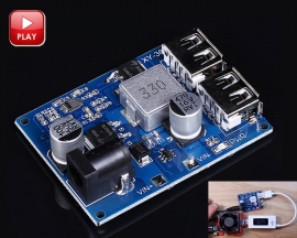 DC to DC Adjustable Buck Converter Step Down Power Supply Module DC 24V/12V to DC 5V 5A Double USB Output