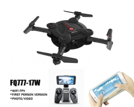 [BB403]Mini WiFi FPV Foldable Pocketable Drone FQ777-17W with High Hold Mode RC Quadcopter APP Control Black Color