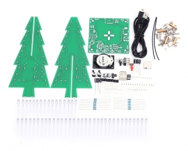 DIY Kit RGB Flashing LED Circuit Colorful 3D Christmas Trees Kit MP3 Music Box with Shell for Christmas Xmas Gifts
