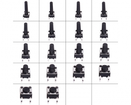 180PCS 18Values Black Vertical Tact Tctile Push Button Switch Assortment Kit Micro Switches Set 6x6mm