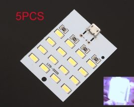 5pcs Micro USB Mobile Power Lamp 16pcs LEDs Board Emergency Light SMD 5730 Super Bright White Lamp Light Module