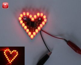 Red Flashing LED DIY Kit Heart Shape Breathing Lamp Kit Electronic Kit Module Soldering Practice DC 4V-6V for Gift