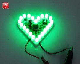 Green LED DIY Kit Heart Shape Breathing Lamp Kit Electronic Soldering Kit DC 4V-6V