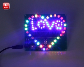 Colorful Flashing LED Light Love Letter Display Lamp Heart Shaped Electronic DIY Kit Module with Remote Control